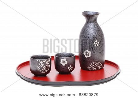 japanese sake bottle on tray