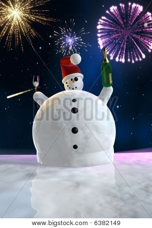 Funny Snowman Is Celebrating