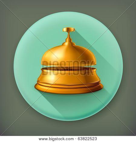 Reception Bell, long shadow vector icon