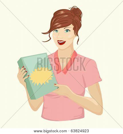 Girl holding blank box