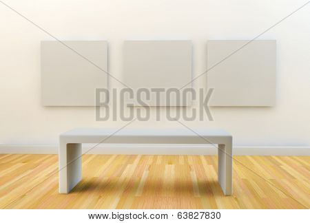 empty gallery or studio space with templates for art on white wall