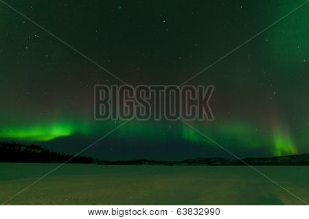 Nightsky Aurora Borealis Frozen Lake Laberge Yukon