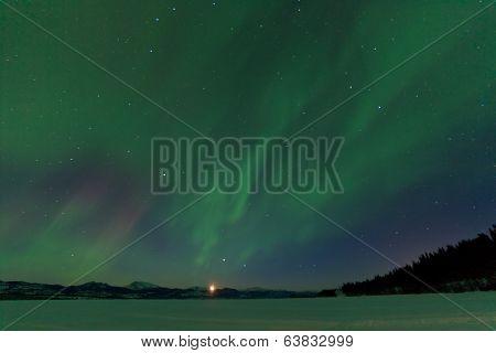 Aurora Borealis Dance Moonrise Lake Laberge Yukon