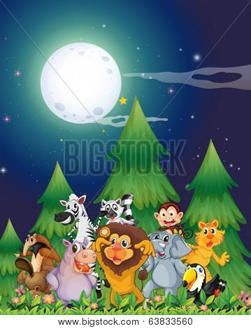 Illustration of the animals near the pine trees under the bright fullmoon