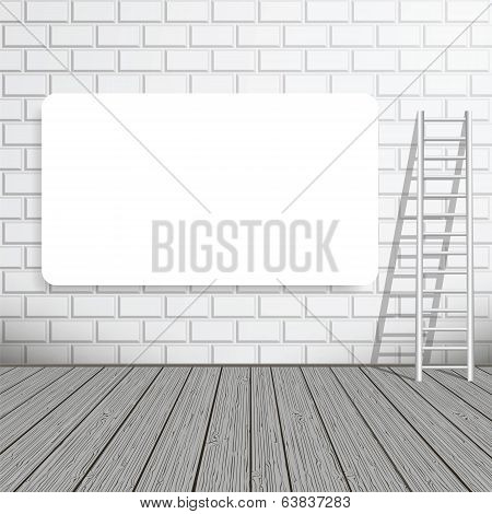 Empty Blank Poster On A Brick Wall With A Ladder