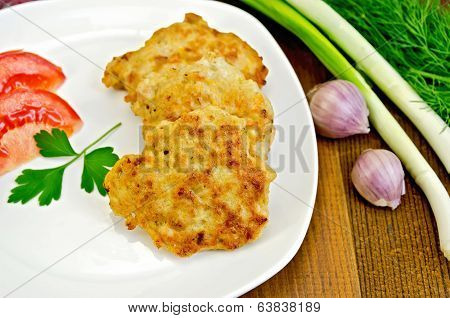 Fritters Chicken With Green Onions On Board