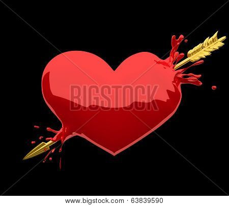 Heart penetrated by golden arrow