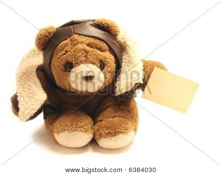 Teddy Bear Pilot With A Blak Note Isolated In A White Background