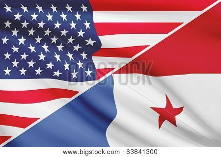 Series Of Ruffled Flags. Usa And Republic Of Panama.