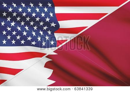 Series Of Ruffled Flags. Usa And State Of Qatar.