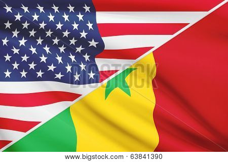 Series Of Ruffled Flags. Usa And Republic Of Senegal.