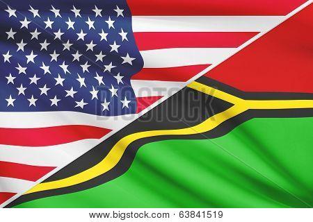 Series Of Ruffled Flags. Usa And Republic Of Vanuatu.