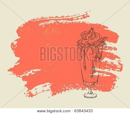 Milkshake with strawberry syrup on red background.