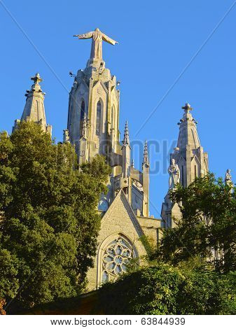 Temple of the Sacred Heart of Jesus on Tibidabo Mountain in Barcelona Catalonia Spain poster