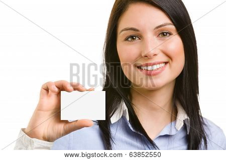 Young Beautiful Woman With Business Card