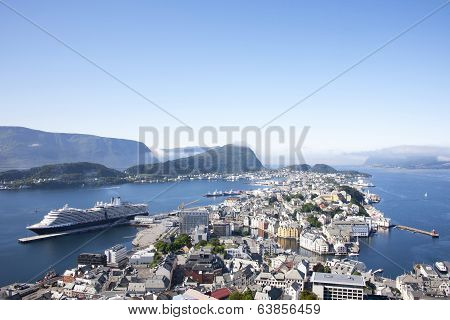 Alesund Norway Port with Cruise Ship
