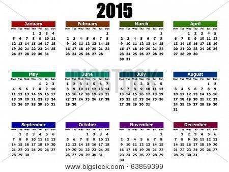 simple calendar 2015 mondays firts
