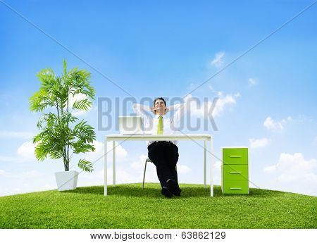 Business Man in His Office Outdoors