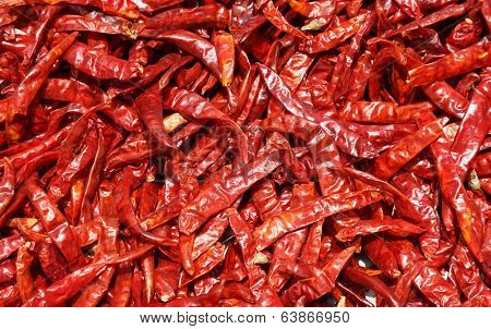 Dried Red Chilli, Food Ingredient And Background