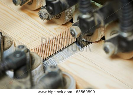 Wood plank finger jointing process on factory manufacture production line