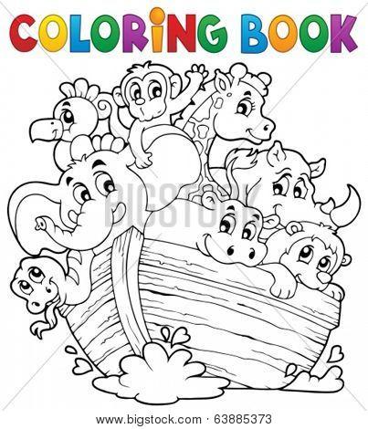 Coloring book Noahs ark theme 1 - eps10 vector illustration.