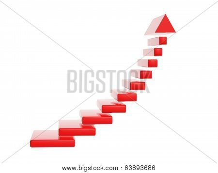 Red Stair Steps Grow Up Arrow