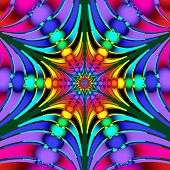 Beautiful multicolored fractal with beads and beams. Computer generated graphics. poster