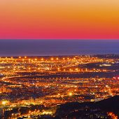 Barcelona Cityscape during sunset - view from Tibidabo Mountain Catalonia Spain poster
