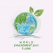 Sketch of mother earth globe with green leaves and stylish text World Environment Day background.  poster