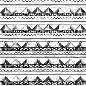 Black and White Doodle Style Seamless Tileable Tribal Pattern poster