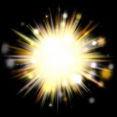 A bright exploding burst over a black background. poster