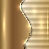 Vector abstract beige metallic background with curve and stripes poster
