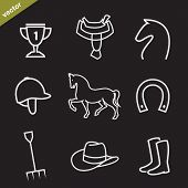 Set of vector horse equipment icons on black background poster