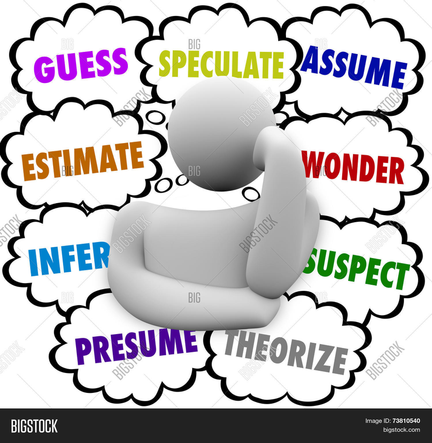 guess and related words in thought clouds over a thinker including estimate infer speculate - Difference Between Assume And Presume
