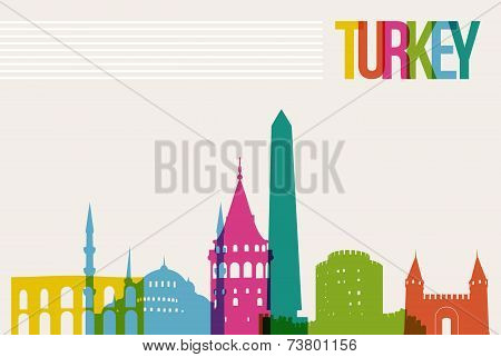 Travel Turkey famous landmarks skyline multicolored design background. Transparency vector organized in layers for easy create your own website brochure or marketing campaign. poster