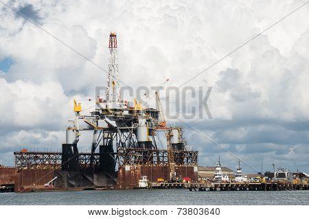 Offshore Oil Drilling Rig Platform In Dry Dock