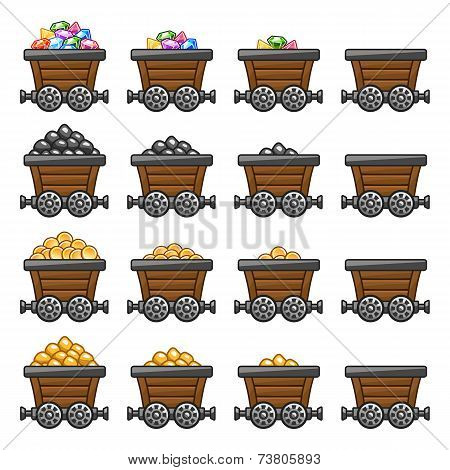 Mine cart set gold sone coins diamonds