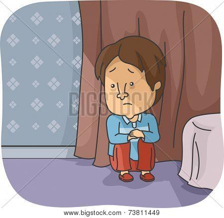 Illustration Featuring a Depressed Man