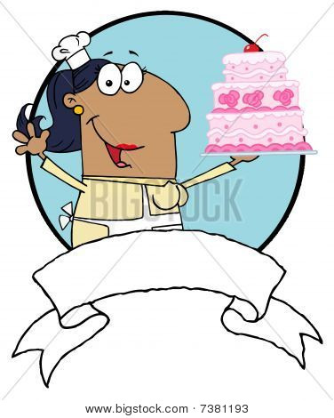 Hispanic Woman Holding Up A Cake