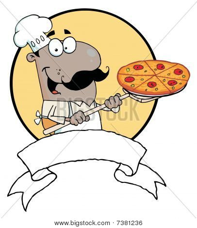 Cartoon Proud African American Chef Inserting A Pepperoni Pizza