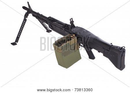 M60 machine gun isolated on white background poster
