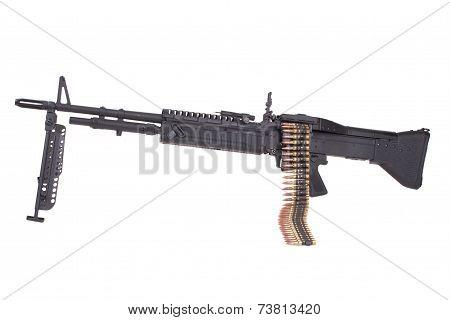 M60 Machine Gun With Ammo Belt Isolated On White
