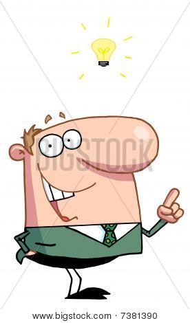Creative Thinking Businessman In A Green Suit And A Lighbulb Over His Head