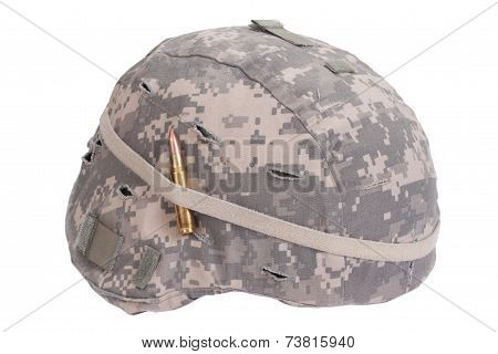 Us Army Kevlar Helmet With Camouflage Cover With Ammo Amulet