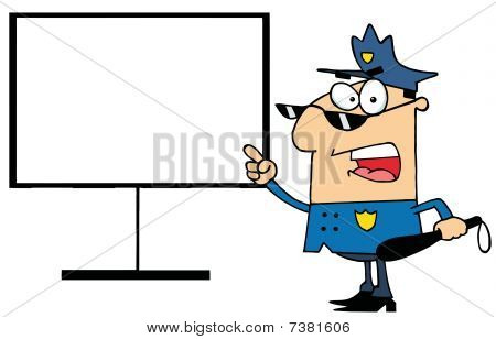 Police Officer Shouting And Pointing To A Blank Sign