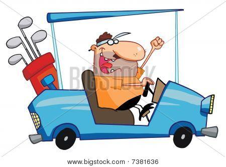 Happy Golfer Drives Golf Cart