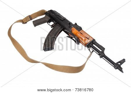 Assault rifle AK 47 isolated on white background poster