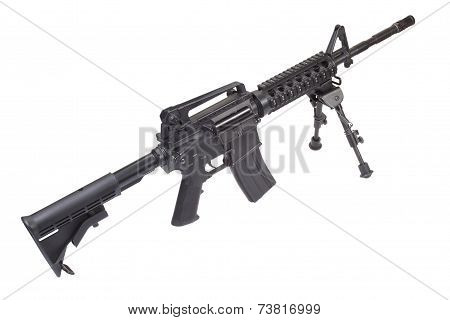 Assault Rifle With Bipod Isolated On A White Background