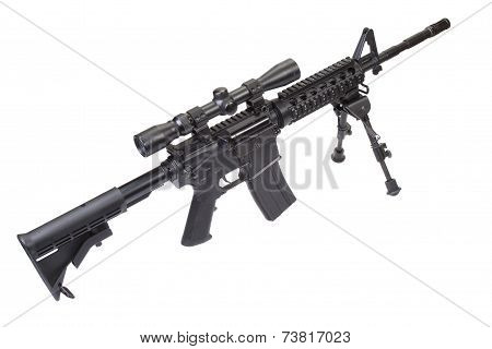 Sniper Rifle With Bipod Isolated On A White Background