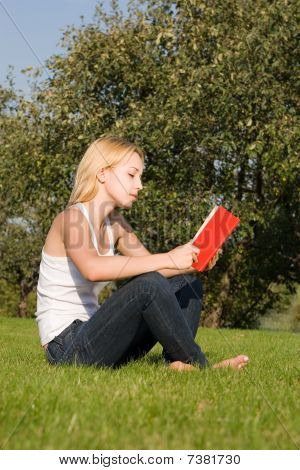 Young Blonde Reads Book In The Park